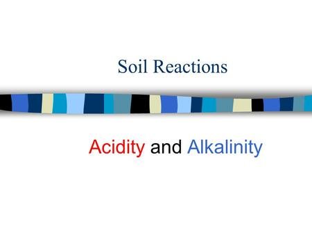 Soil Reactions Acidity and Alkalinity. n What is pH? n What is cation exchange capacity? n What are the applications in soil?