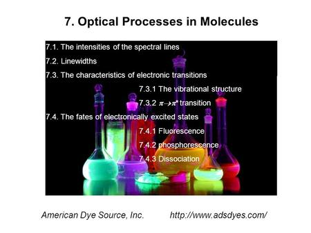 7. Optical Processes in Molecules American Dye Source, Inc.  7.1. The intensities of the spectral lines 7.2. Linewidths 7.3. The.