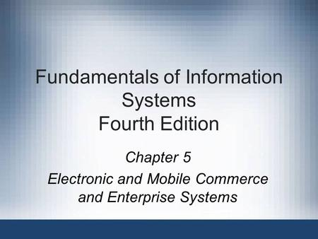Fundamentals of Information Systems Fourth Edition