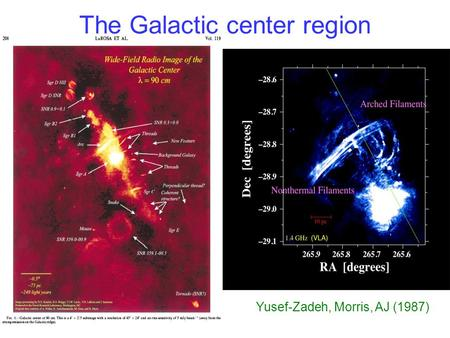 The Galactic center region Concentrated stars and interstellar matter High energy density (gravity, MHD, kinetic) Strong magnetic field :B ~ mG High external.