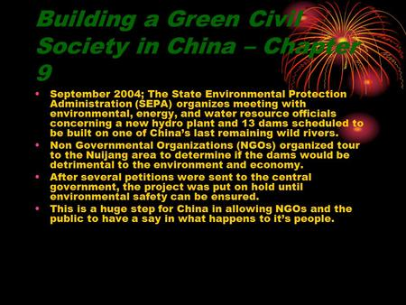 Building a Green Civil Society in China – Chapter 9 September 2004; The State Environmental Protection Administration (SEPA) organizes meeting with environmental,
