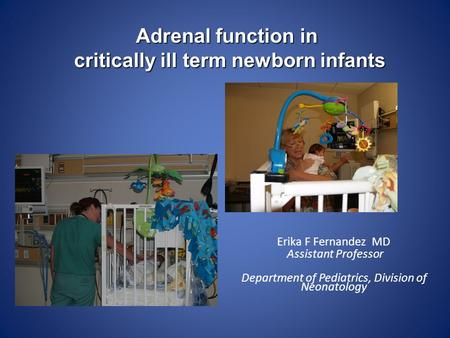 Erika F Fernandez MD Assistant Professor Department of Pediatrics, Division of Neonatology Adrenal function in critically ill term newborn infants.