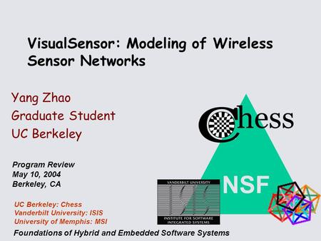 NSF Foundations of Hybrid and Embedded Software Systems UC Berkeley: Chess Vanderbilt University: ISIS University of Memphis: MSI Program Review May 10,