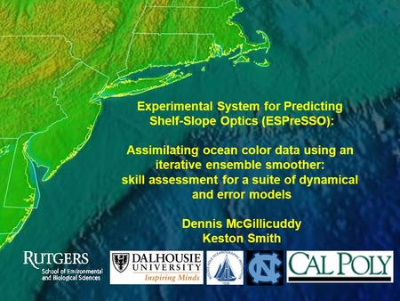 Experimental System for Predicting Shelf-Slope Optics (ESPreSSO): Assimilating ocean color data using an iterative ensemble smoother: skill assessment.