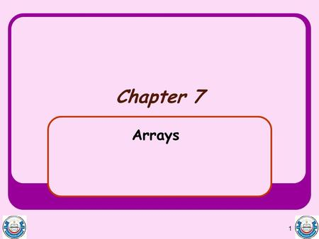 1 Chapter 7 Arrays. 2 Outline and Objective In this chapter we will Learn about arrays One-dimensional arrays Two-dimensional arrays Learn about searching.