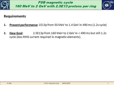 PSB magnetic cycle 160 MeV to 2 GeV with 2.5E13 protons per ring A. Blas 2 GeV magnetic cycle 29/04/2010 1 Requirements 1.Present performance: 1E13p from.