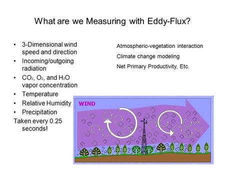 What are we Measuring with Eddy-Flux? 3-Dimensional wind speed and direction Incoming/outgoing radiation CO 2, O 2, and H 2 O vapor concentration Temperature.