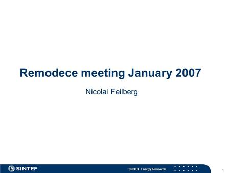 SINTEF Energy Research 1 Remodece meeting January 2007 Nicolai Feilberg.
