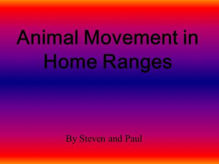 Animal Movement in Home Ranges By Steven and Paul.