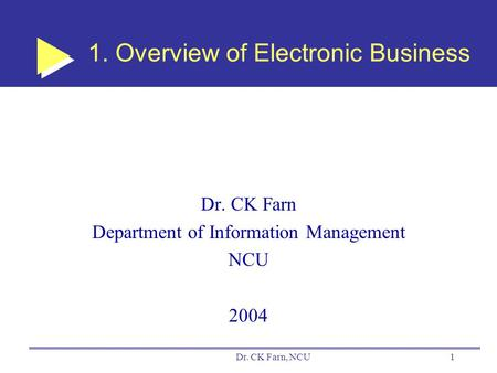 Dr. CK Farn, NCU1 1. Overview of Electronic Business Dr. CK Farn Department of Information Management NCU 2004.
