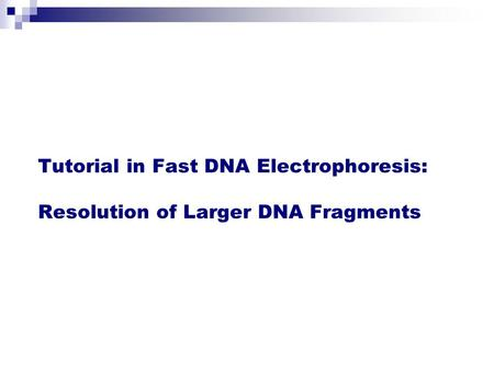 Tutorial in Fast DNA Electrophoresis: Resolution of Larger DNA Fragments.
