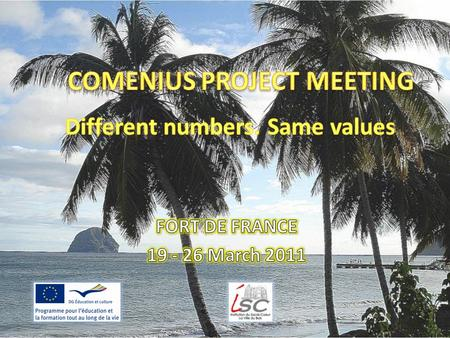 The project and the partners The Comenius project Different numbers. Same values is a school partnership project. Its includes 6 schools of 4 countries.