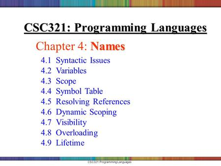 CSC321: Programming Languages Names Chapter 4: Names 4.1 Syntactic Issues 4.2 Variables 4.3 Scope 4.4 Symbol Table 4.5 Resolving References 4.6 Dynamic.