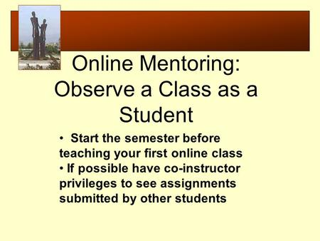 Start the semester before teaching your first online class If possible have co-instructor privileges to see assignments submitted by other students Online.