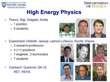 High Energy Physics Theory: Bigi, Delgado, Kolda –1 postdoc –5 students Experiment: Hildreth, Jessop, Lannon LoSecco, Ruchti, Wayne –3 research professors.