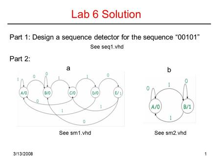 "3/13/20081 Lab 6 Solution Part 1: Design a sequence detector for the sequence ""00101"" Part 2: a b See sm1.vhdSee sm2.vhd See seq1.vhd."