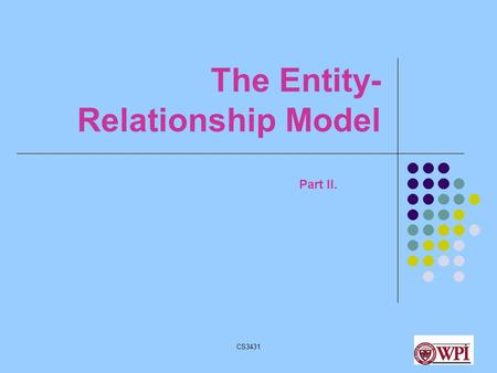 CS34311 The Entity- Relationship Model Part II.. CS34312 Database Design Stages Application Requirements Conceptual Design Logical Design Physical Design.