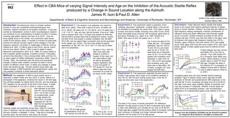 Effect in CBA Mice of varying Signal Intensity and Age on the Inhibition of the Acoustic Startle Reflex produced by a Change in Sound Location along the.
