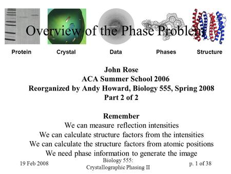 19 Feb 2008 Biology 555: Crystallographic Phasing II p. 1 of 38 ProteinDataCrystalStructurePhases Overview of the Phase Problem John Rose ACA Summer School.