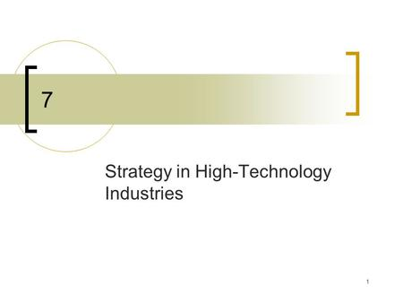 1 7 Strategy in High-Technology Industries. 2 Overview Technology  The body of scientific knowledge used in the production of goods or services High-tech.
