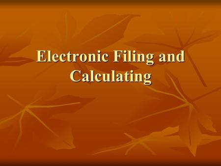 Electronic Filing and Calculating. Alphabetic Indexing Rules.