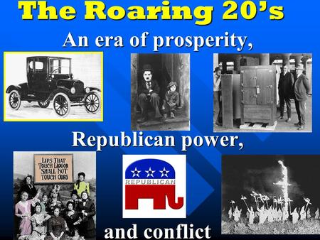 The Roaring 20's An era of prosperity, Republican power, and conflict.