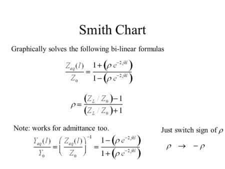 Smith Chart Graphically solves the following bi-linear formulas Note: works for admittance too. Just switch sign of 