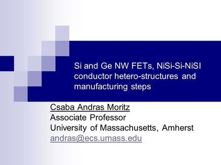 Si and Ge NW FETs, NiSi-Si-NiSI conductor hetero-structures and manufacturing steps Csaba Andras Moritz Associate Professor University of Massachusetts,