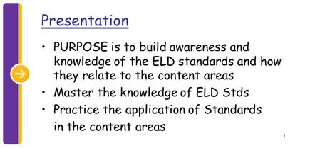 1 Presentation PURPOSE is to build awareness and knowledge of the ELD standards and how they relate to the content areas Master the knowledge of ELD Stds.