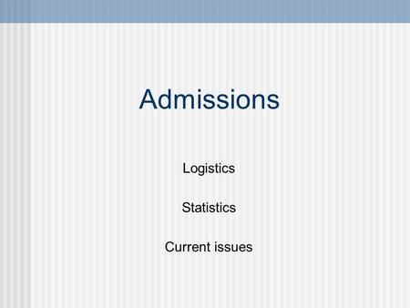 Admissions Logistics Statistics Current issues. Admissions Committee Chairman appointed by Dean Ex officio Dean Assoc. Dean Education Assoc. Dean Student.