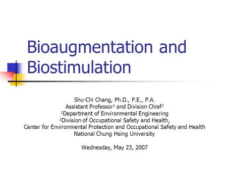 Bioaugmentation and Biostimulation