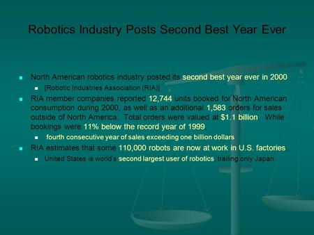 Robotics Industry Posts Second Best Year Ever North American robotics industry posted its second best year ever in 2000 [Robotic Industries Association.