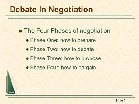 Slide 1 Debate In Negotiation The Four Phases of negotiation Phase One: how to prepare Phase Two: how to debate Phase Three: how to propose Phase Four: