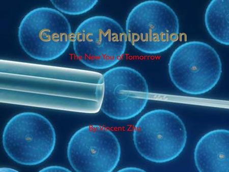 Genetic Manipulation The New You of Tomorrow By: Vincent Zhu.