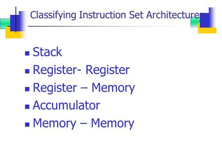 Classifying Instruction Set Architectures