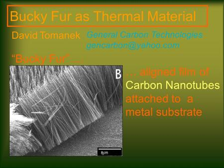 "… aligned film of Carbon Nanotubes attached to a metal substrate Bucky Fur as Thermal Material General Carbon Technologies ""Bucky."
