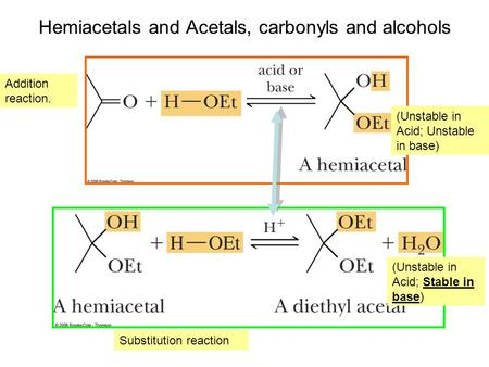 Hemiacetals and Acetals, carbonyls and alcohols (Unstable in Acid; Stable in base) (Unstable in Acid; Unstable in base) Addition reaction. Substitution.