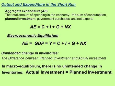 Output and Expenditure in the Short Run Aggregate expenditure (AE) The total amount of spending in the economy: the sum of consumption, planned investment,