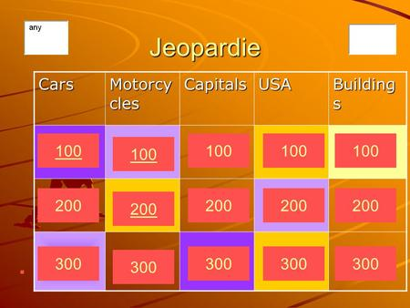 Jeopardie Cars Motorcy cles CapitalsUSA Building s 300 200 100 300 200 100 300 200 100 300 200 100 300 200 100.