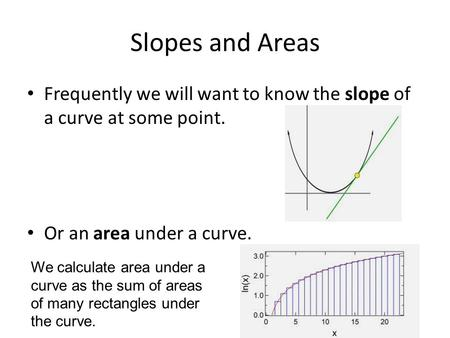 Slopes and Areas Frequently we will want to know the slope of a curve at some point. Or an area under a curve. We calculate area under a curve as the sum.