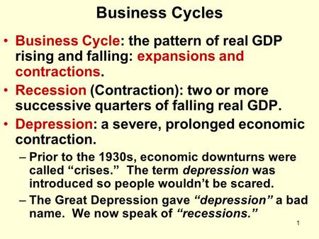 1 Business Cycles Business Cycle: the pattern of real GDP rising and falling: expansions and contractions. Recession (Contraction): two or more successive.