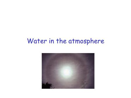 Water in the atmosphere. Water content of air Mass mixing ratio, Saturated vapour pressure, equilibrium over flat surface Rate of evaporation = rate of.