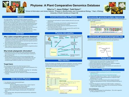 We are developing a web database for plant comparative genomics, named Phytome, that, when complete, will integrate organismal phylogenies, genetic maps.