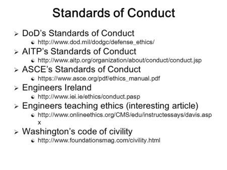 Standards of Conduct DoD's Standards of Conduct