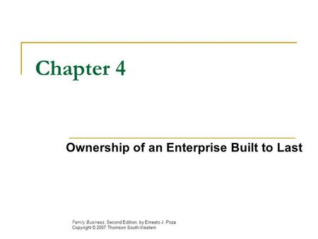 Chapter 4 Ownership of an Enterprise Built to Last
