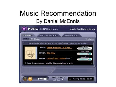 Music Recommendation By Daniel McEnnis. Outline Sociology of Music Recommendation Infrastructure –Relational Analysis Toolkit Description Evaluation –GATE.