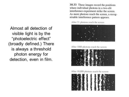 "Almost all detection of visible light is by the ""photoelectric effect"" (broadly defined.) There is always a threshold photon energy for detection, even."