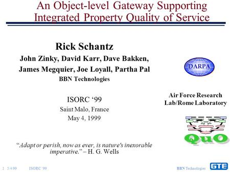 1 5/4/99ISORC '99 BBN Technologies An Object-level Gateway Supporting Integrated Property Quality of Service Rick Schantz John Zinky, David Karr, Dave.