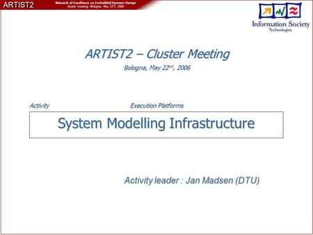 ARTIST2 Network of Excellence on Embedded Systems Design cluster meeting –Bologna, May 22 nd, 2006 System Modelling Infrastructure Activity leader : Jan.