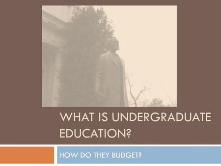 WHAT IS UNDERGRADUATE EDUCATION? HOW DO THEY BUDGET?